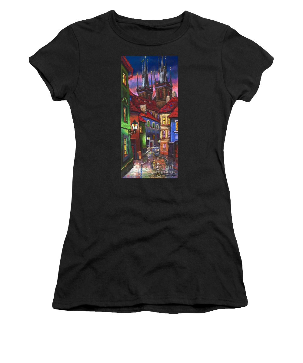 Pastel Women's T-Shirt (Athletic Fit) featuring the painting Prague Old Street 01 by Yuriy Shevchuk