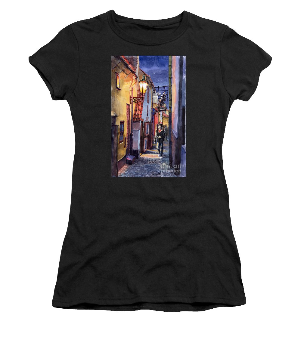 Goldenline Women's T-Shirt (Athletic Fit) featuring the painting Prague Old Street Golden Line by Yuriy Shevchuk