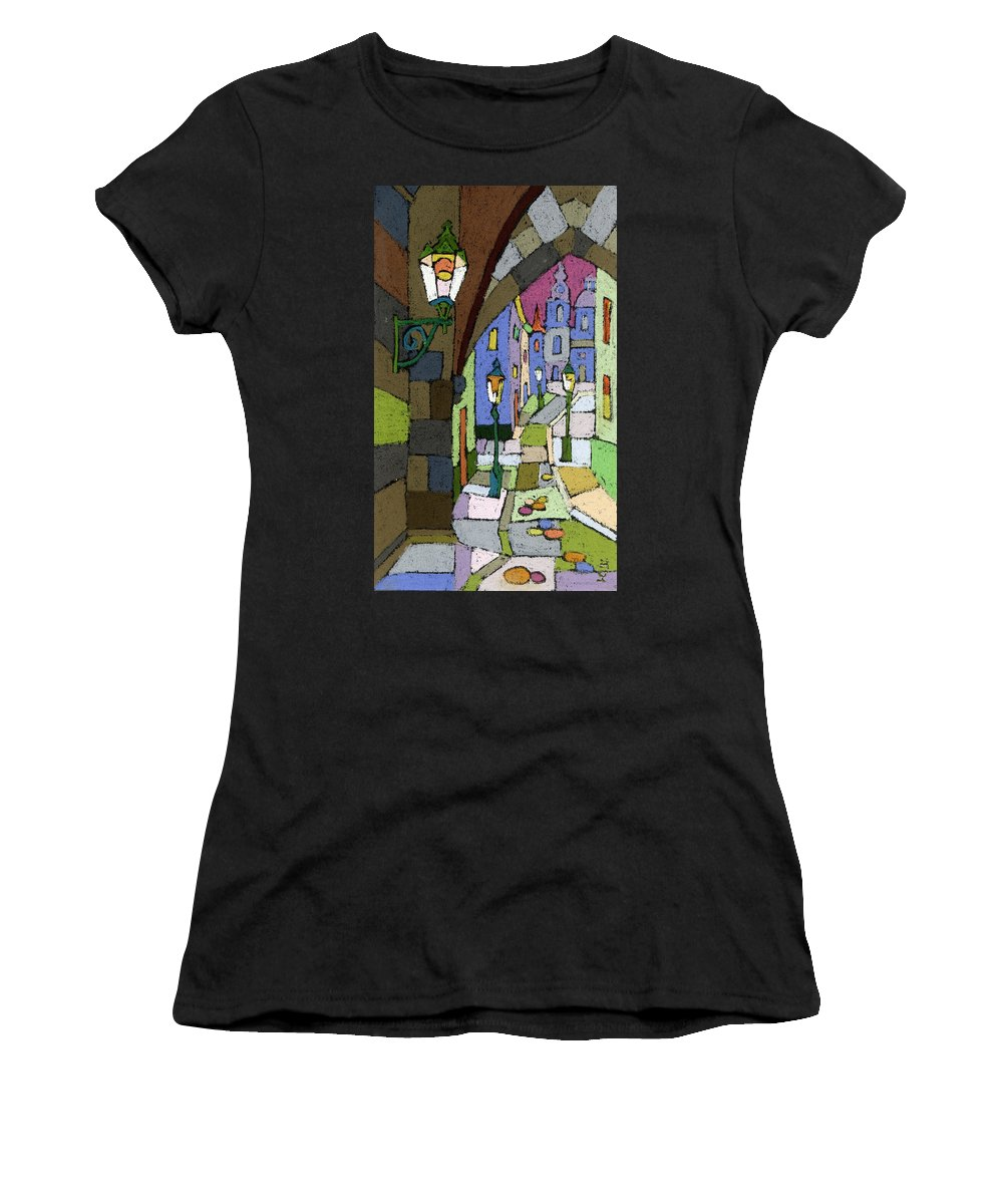 Pastel Women's T-Shirt (Athletic Fit) featuring the painting Prague Old Street Mostecka by Yuriy Shevchuk