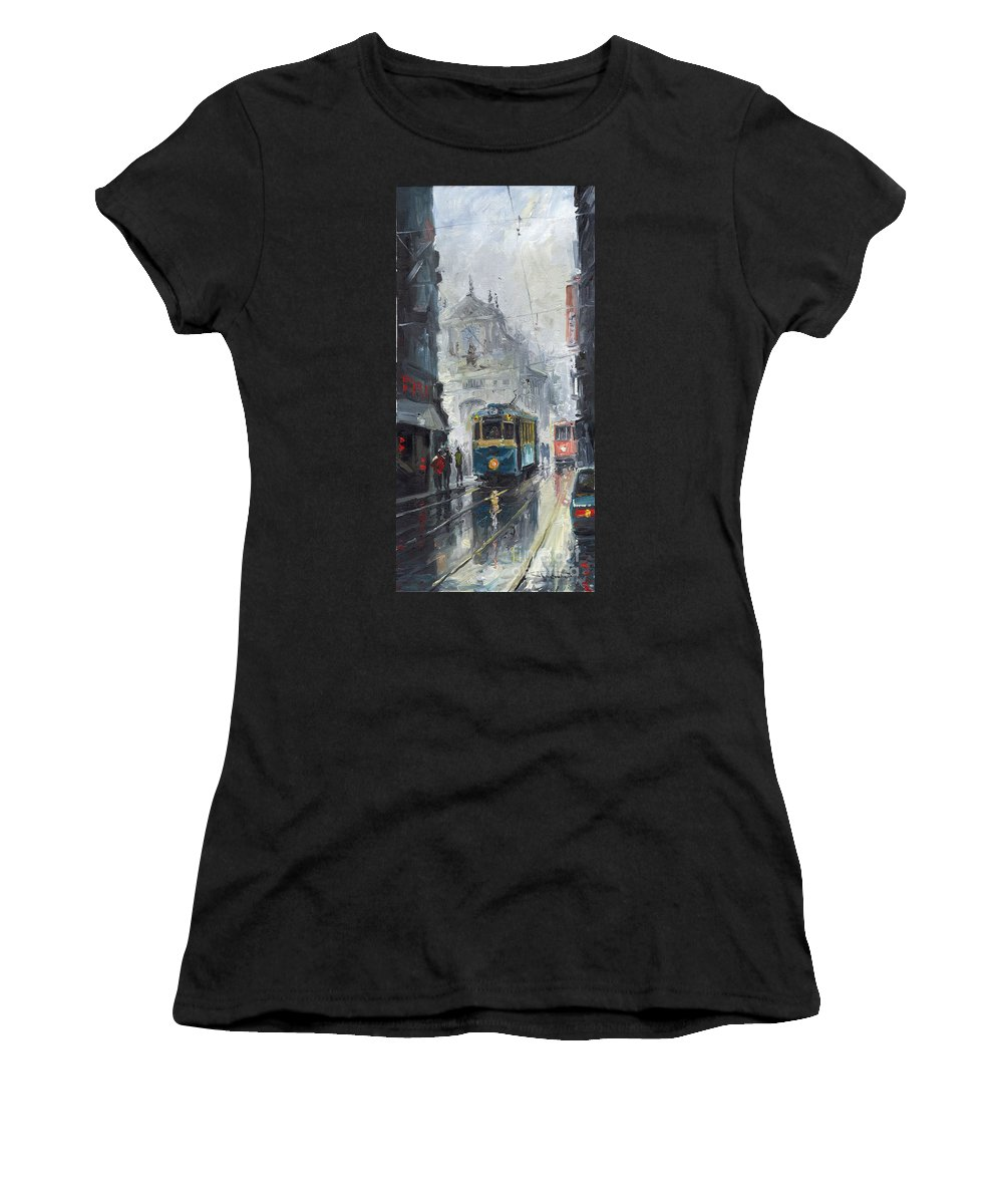 Oil On Canvas Women's T-Shirt (Athletic Fit) featuring the painting Prague Old Tram 04 by Yuriy Shevchuk