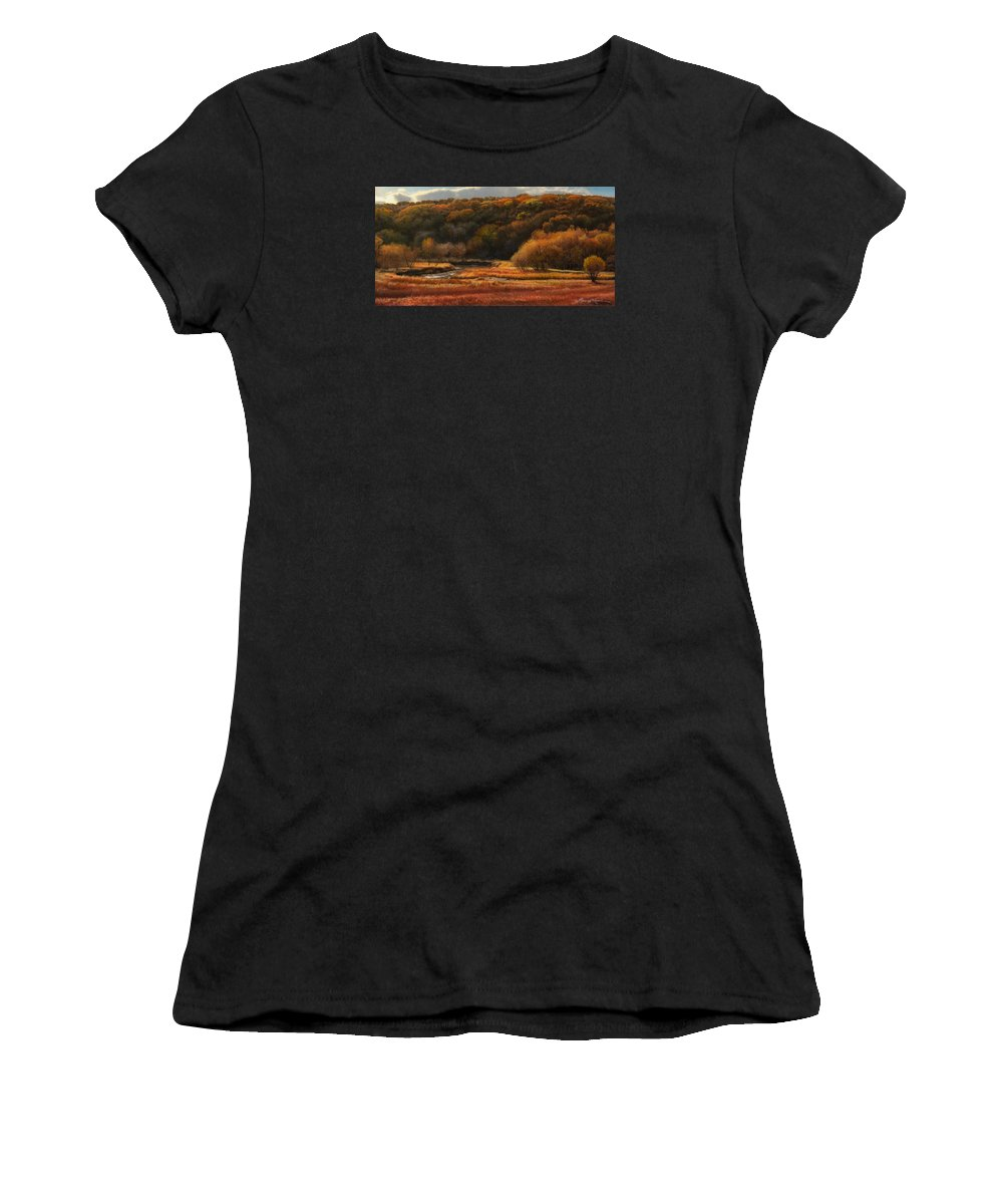 Autumn Landscape Drawings Women's T-Shirt featuring the drawing Prairie Autumn Stream No.2 by Bruce Morrison