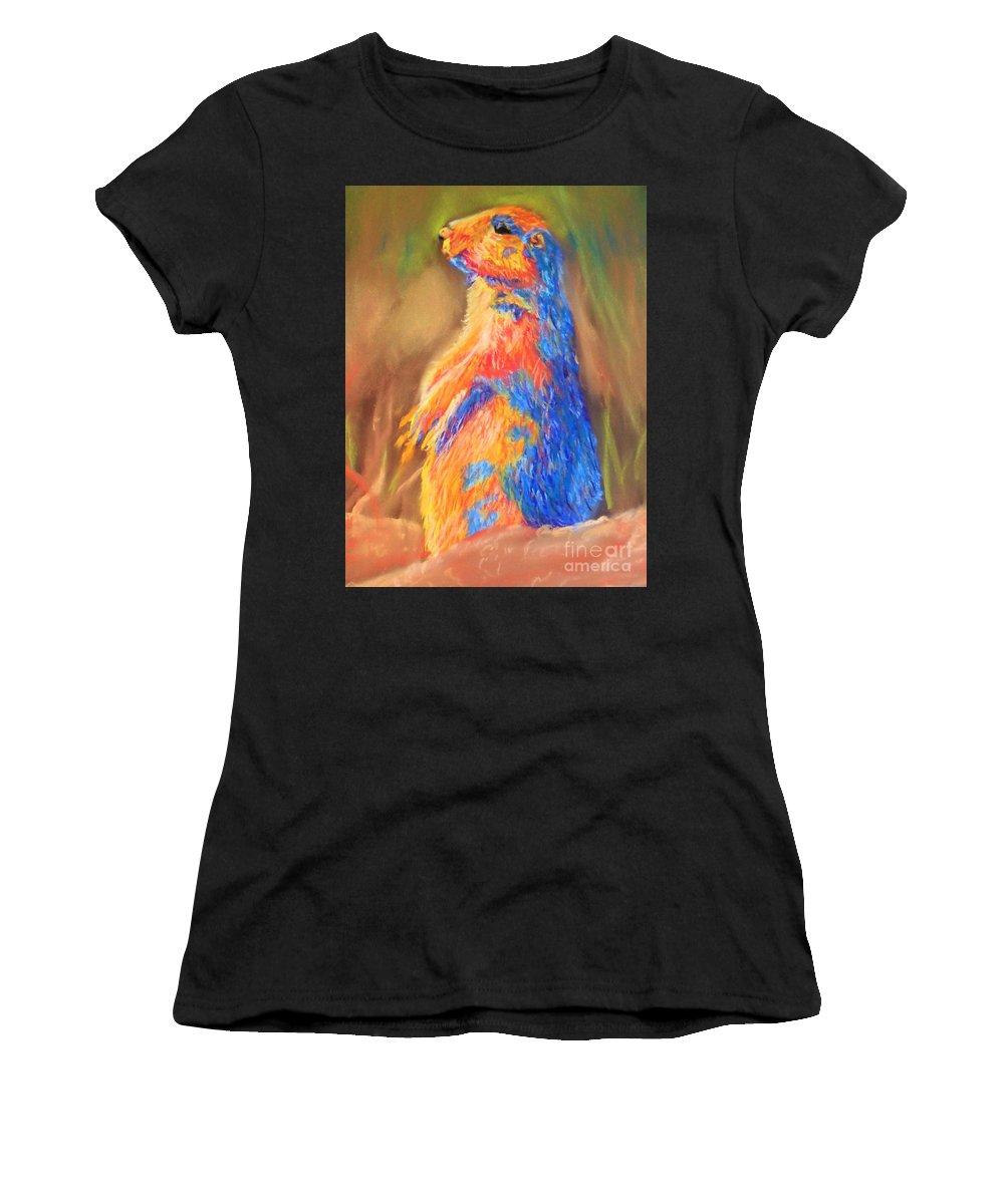 Prairie Dog Women's T-Shirt (Athletic Fit) featuring the pastel Prairie Dog 1 by Deborah Lewitt