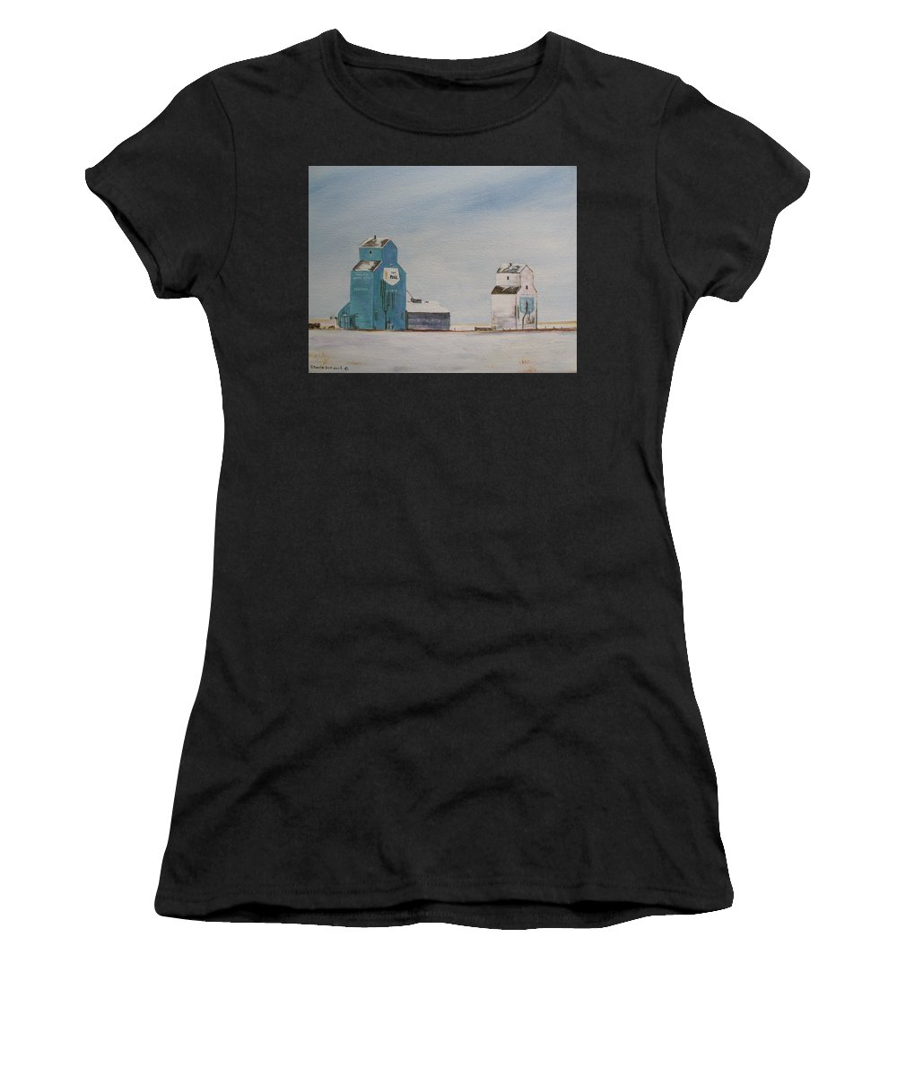 Grain Elevators Women's T-Shirt (Athletic Fit) featuring the painting Prairie Giants II by Elaine Booth-Kallweit