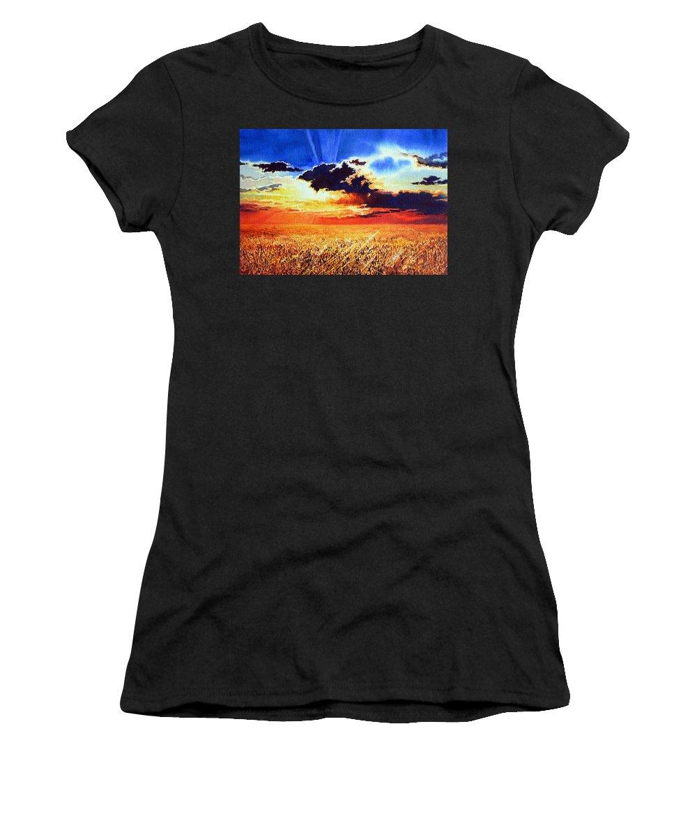 Prairie Gold Painting Women's T-Shirt (Athletic Fit) featuring the painting Prairie Gold by Hanne Lore Koehler