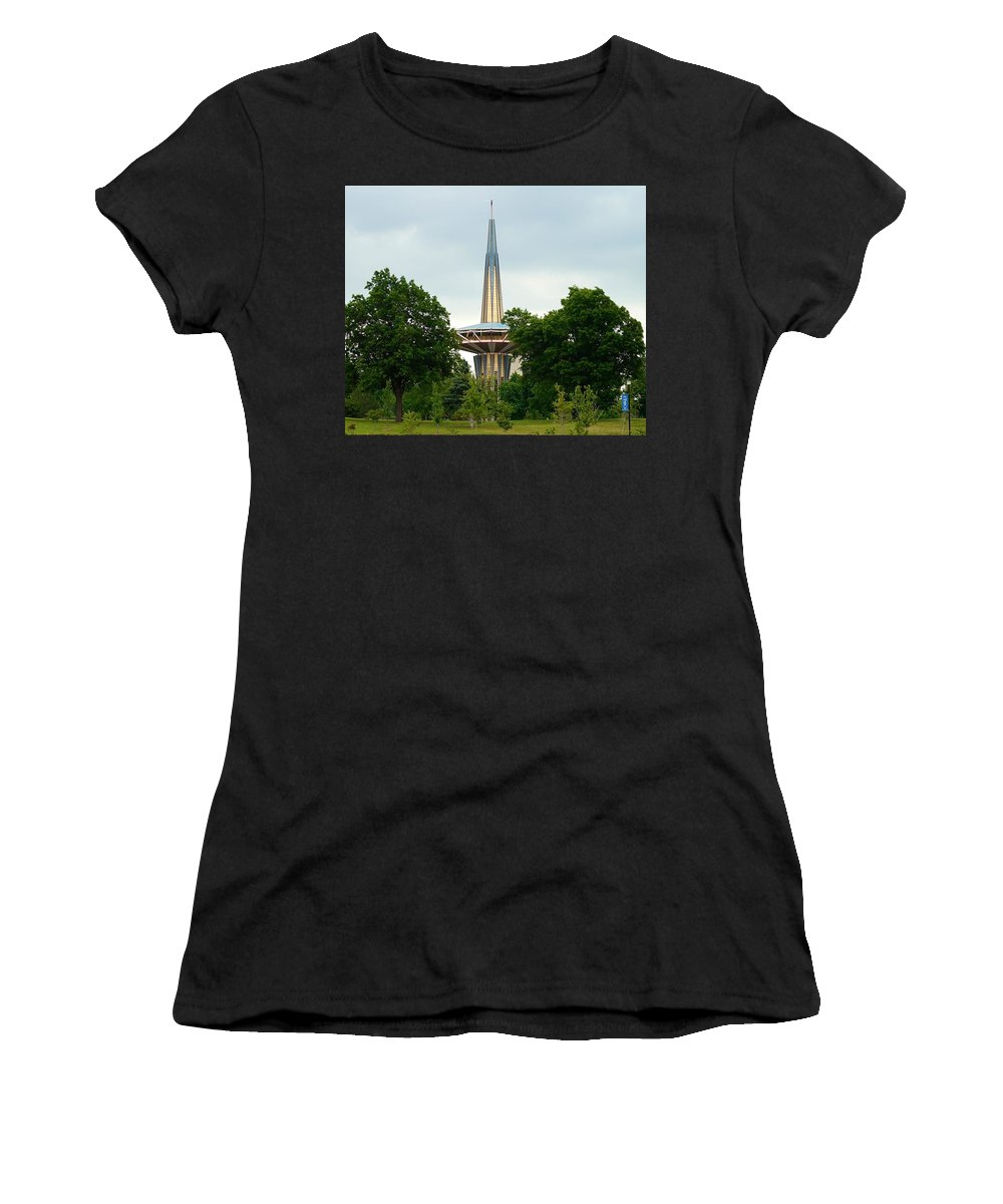 Oral Roberts Prayer Tower Women's T-Shirt (Athletic Fit) featuring the photograph Prayer Tower by Linda Cupps