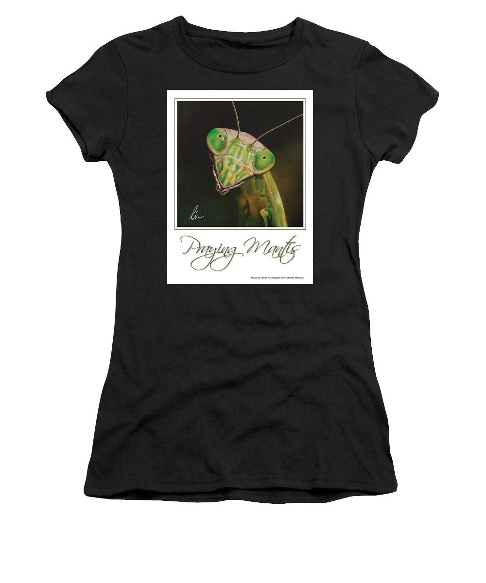 Praying Mantis Women's T-Shirt (Athletic Fit) featuring the painting Praying Mantis Poster by Cindy D Chinn