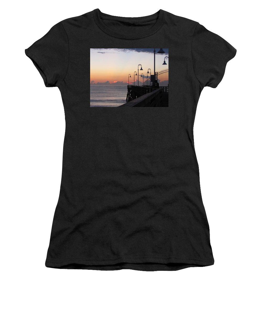 Daytona Women's T-Shirt featuring the photograph Pre-sunrise On Daytona Beach Pier  by Chris Mercer