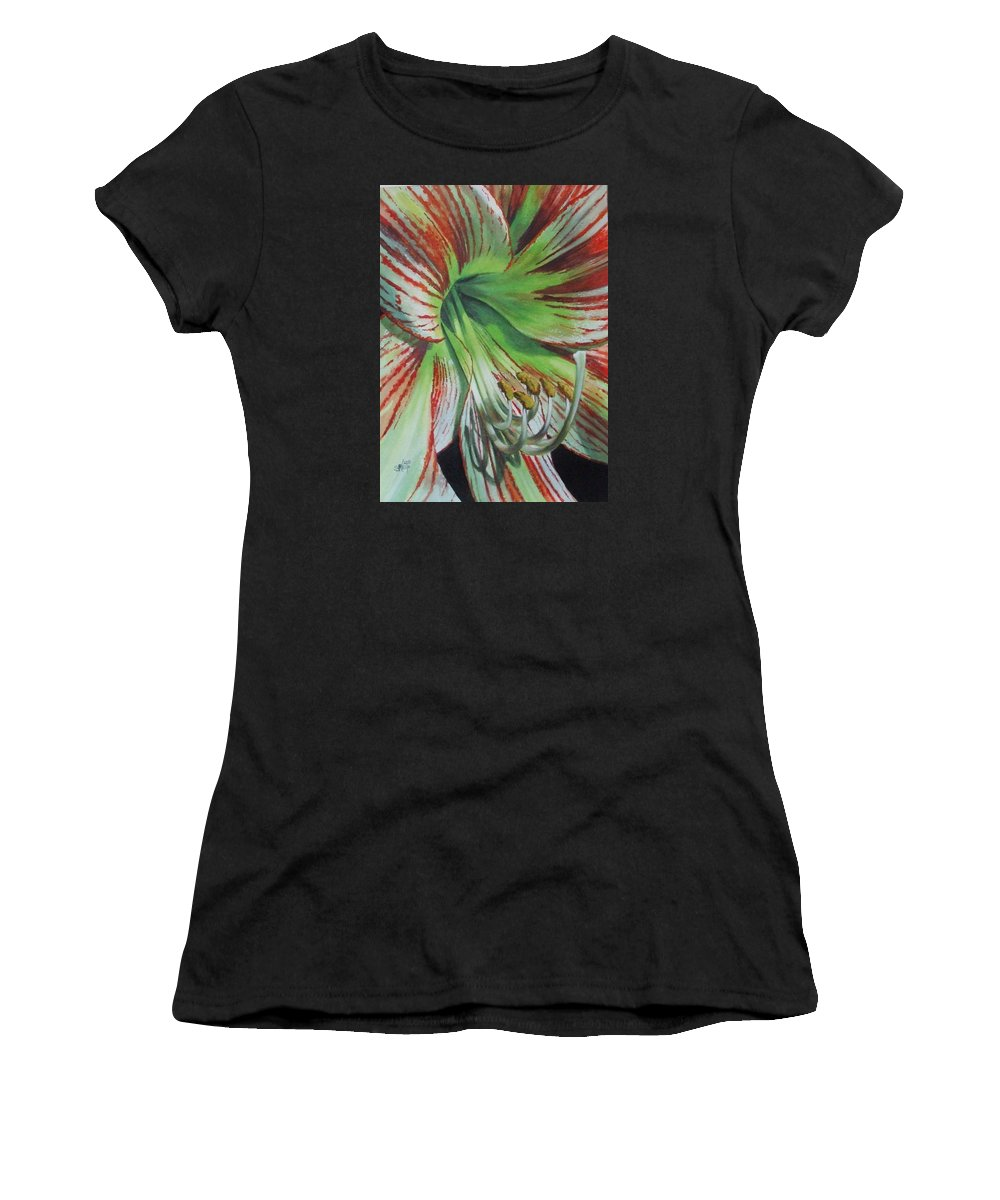 Amaryllis Women's T-Shirt (Athletic Fit) featuring the painting Precious by Barbara Keith