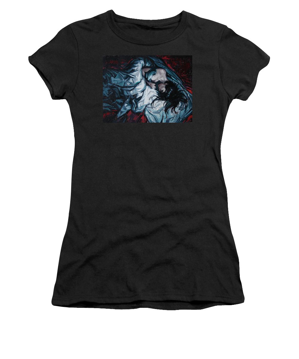 Oil Women's T-Shirt featuring the painting Presentiment of insomnia by Sergey Ignatenko