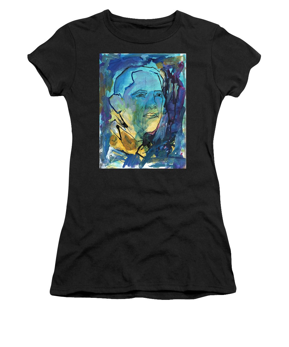 President Obama Women's T-Shirt (Athletic Fit) featuring the painting President Obama by Partha Chinnasamy
