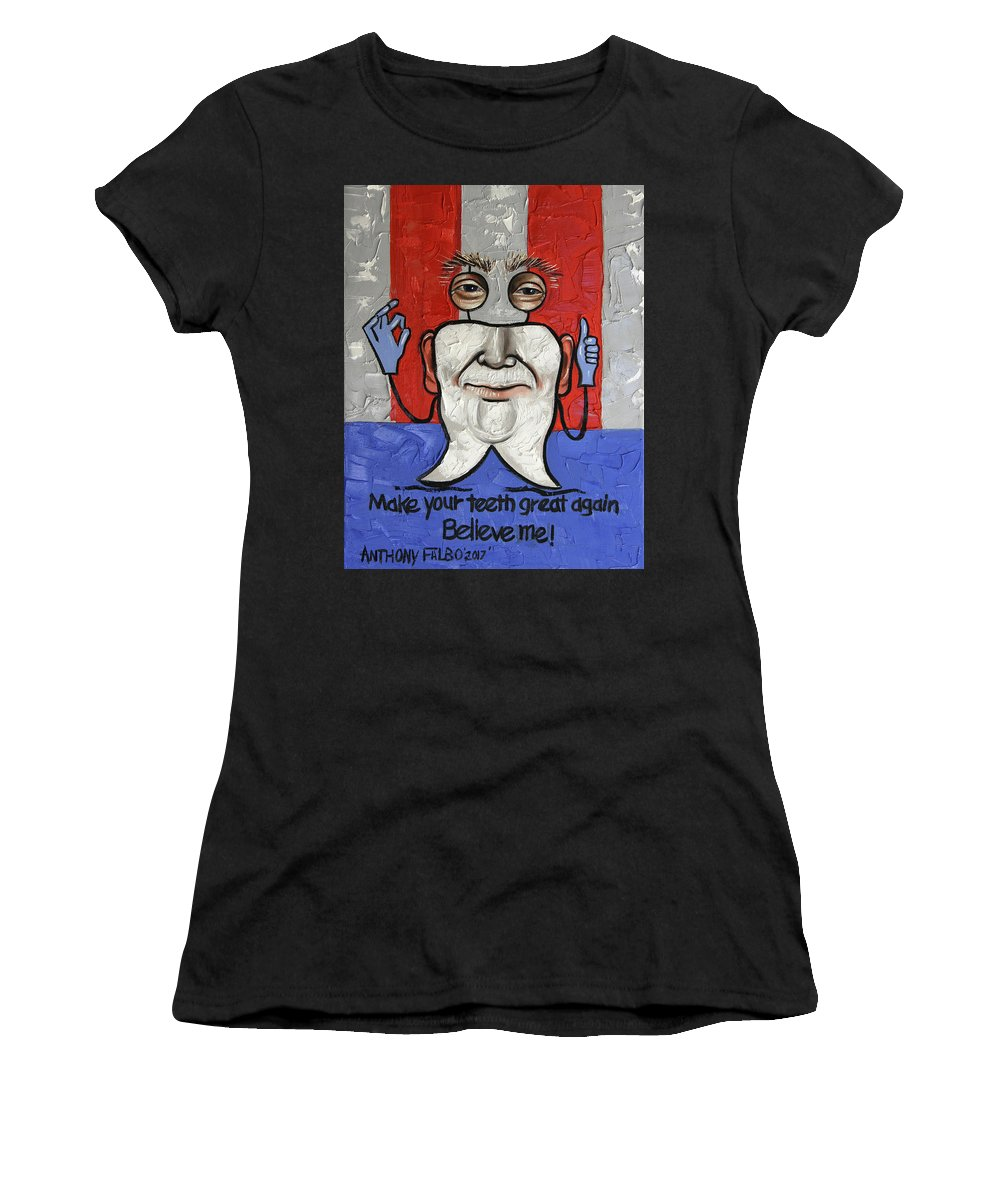 Dental Art Women's T-Shirt featuring the painting Presidential Tooth 2 by Anthony Falbo