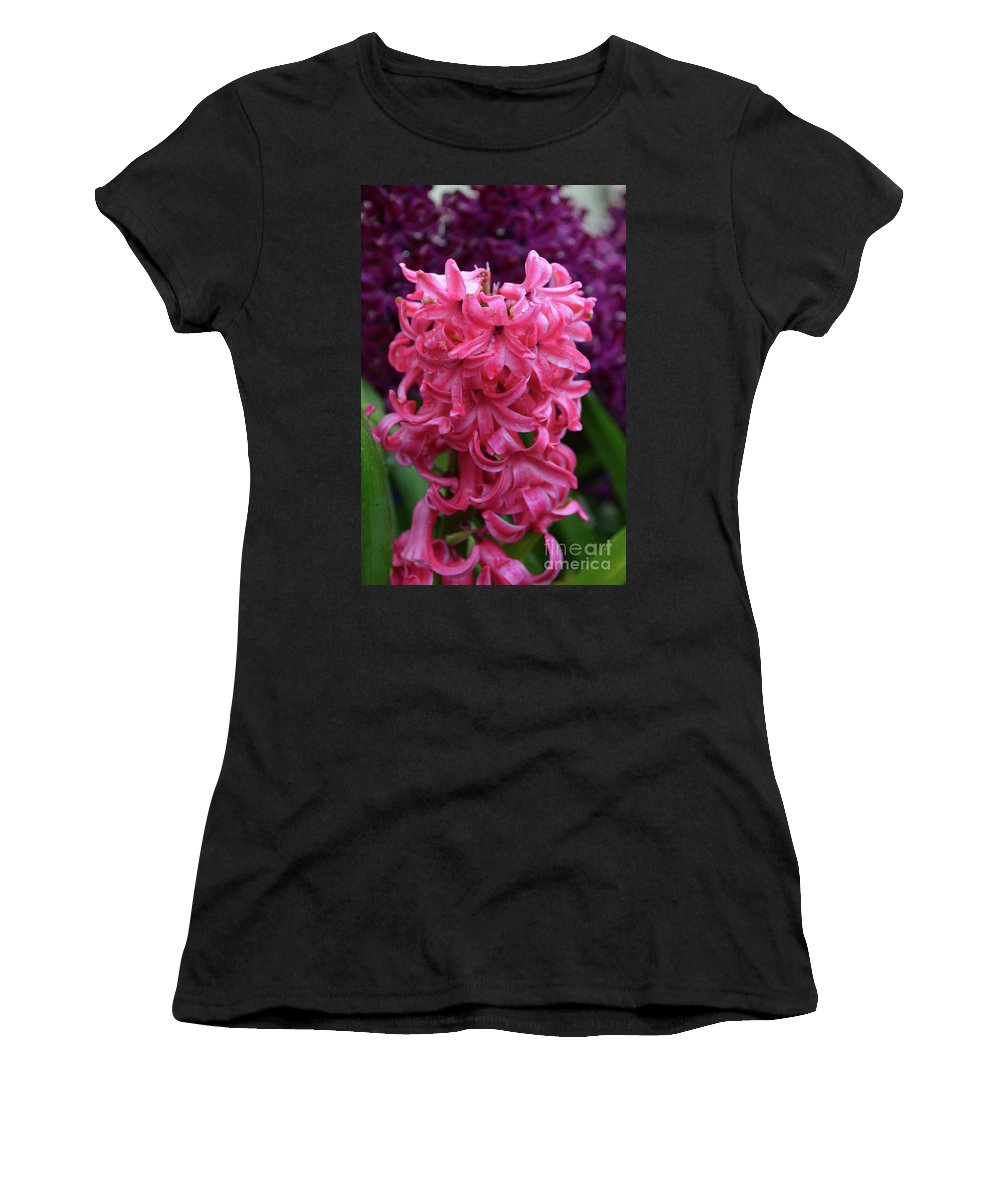 Hyacinth Women's T-Shirt (Athletic Fit) featuring the photograph Pretty Hot Pink Hyacinth Flower Blossom Blooming by DejaVu Designs