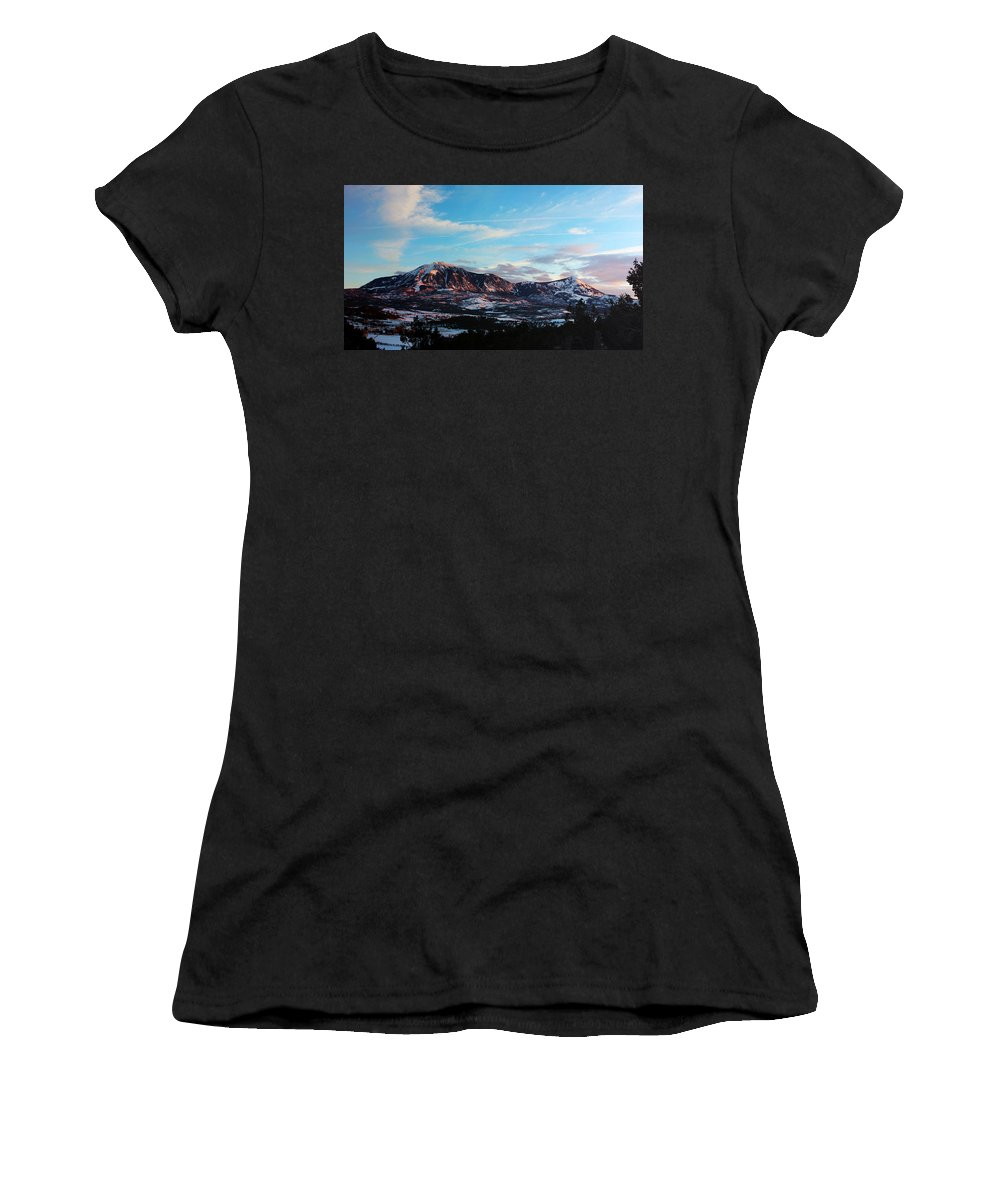 Landscape Women's T-Shirt (Athletic Fit) featuring the photograph Pretty In Pink by Samantha Burrow