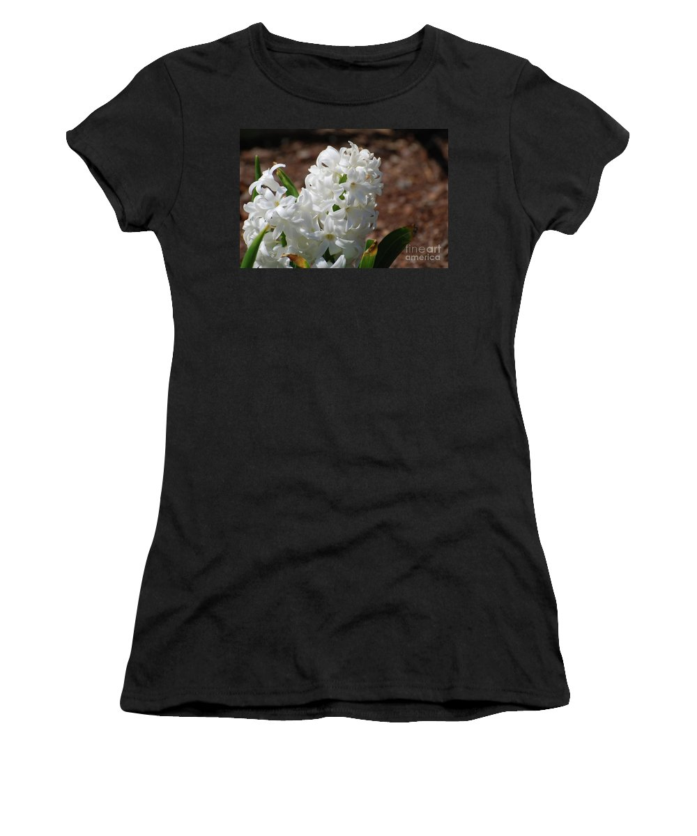 Hyacinth Women's T-Shirt (Athletic Fit) featuring the photograph Pretty White Hyacinth Flower Blossom Flowering by DejaVu Designs