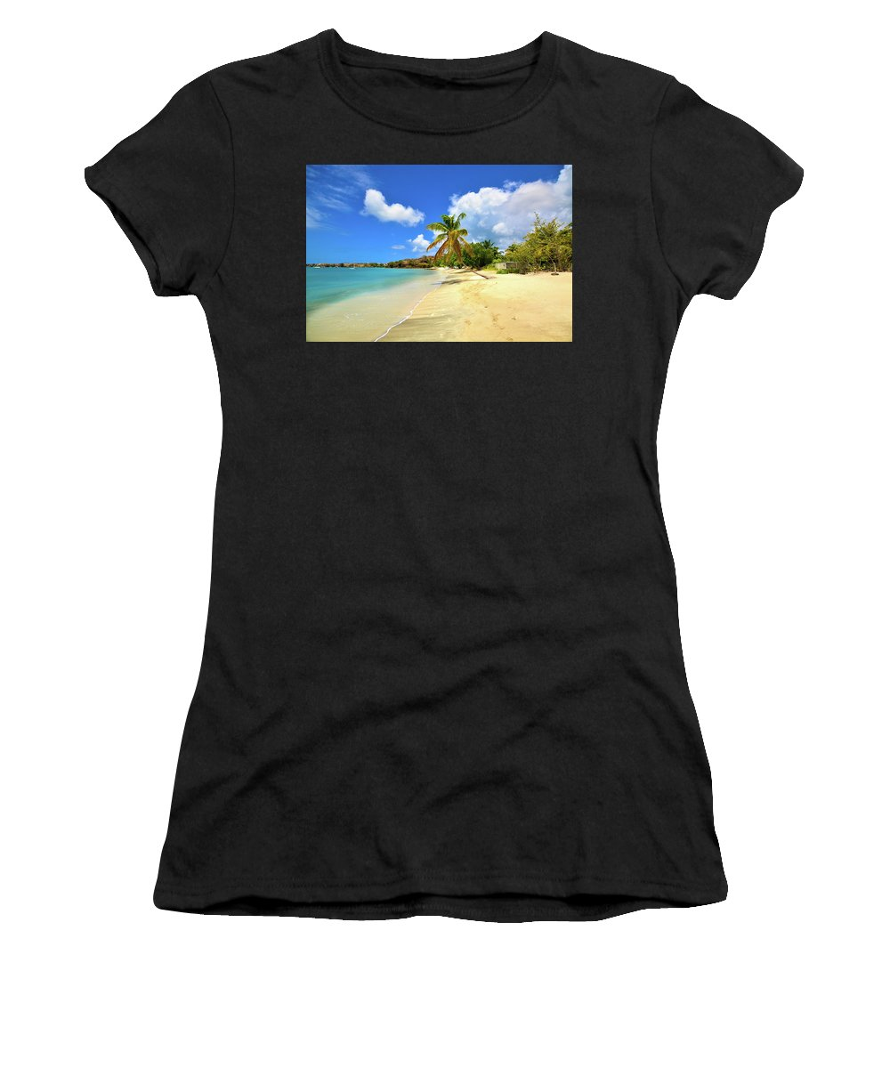 Bay Women's T-Shirt (Athletic Fit) featuring the photograph Prickly Bay Wide by Mint Decor