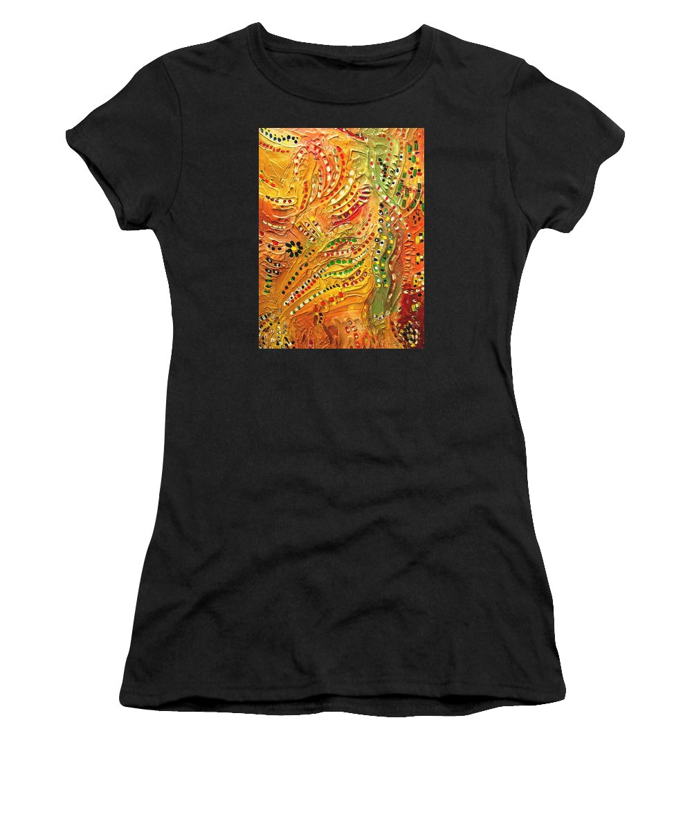 Composition Women's T-Shirt (Athletic Fit) featuring the painting Primitive Abstract 3 By Rafi Talby by Rafi Talby