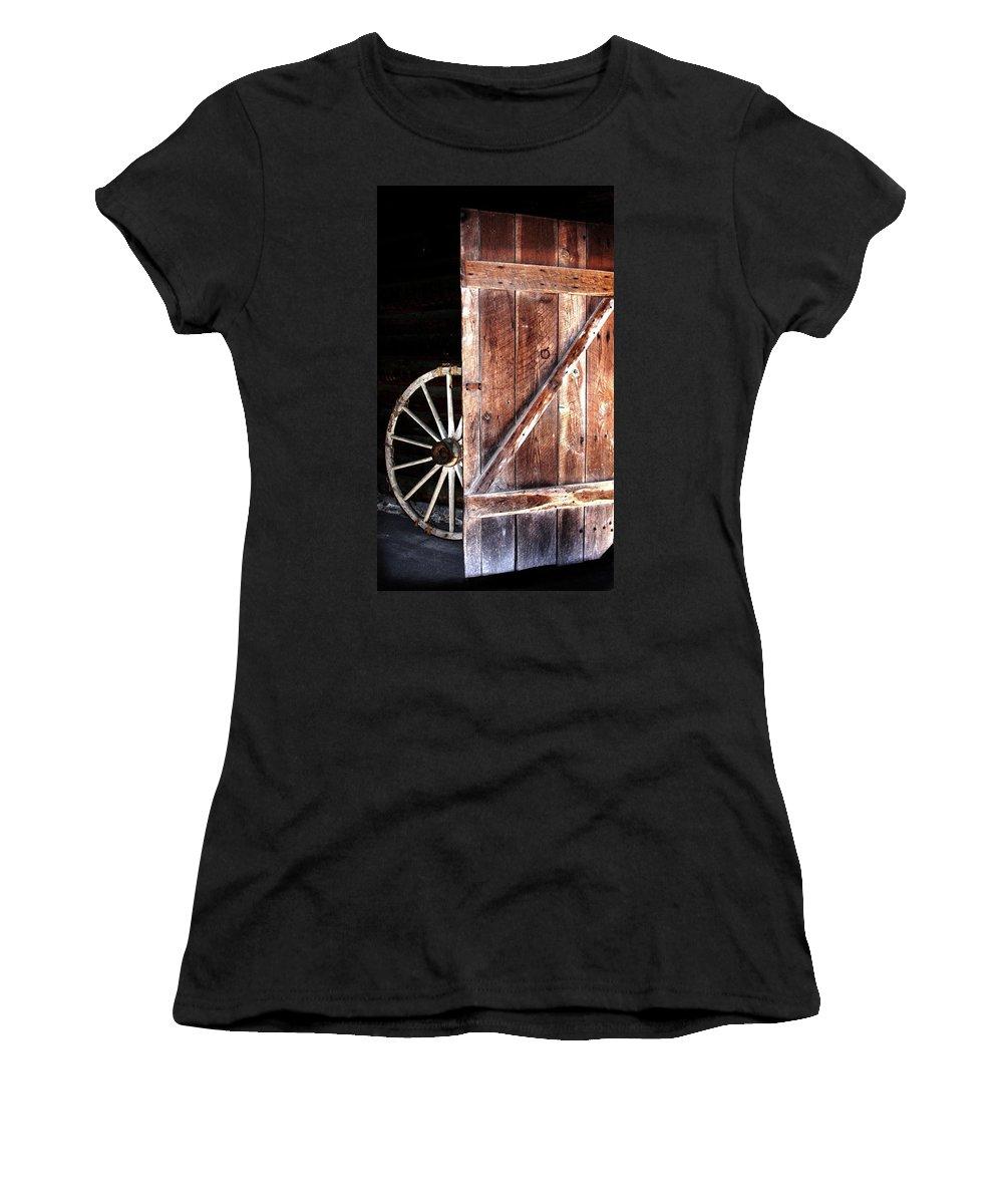 Door Women's T-Shirt featuring the digital art Primitive by Kim Henderson
