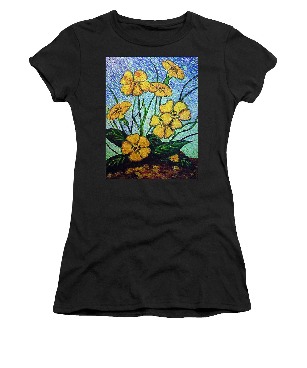 Flowers Women's T-Shirt (Athletic Fit) featuring the painting Primula Veris by Ericka Herazo