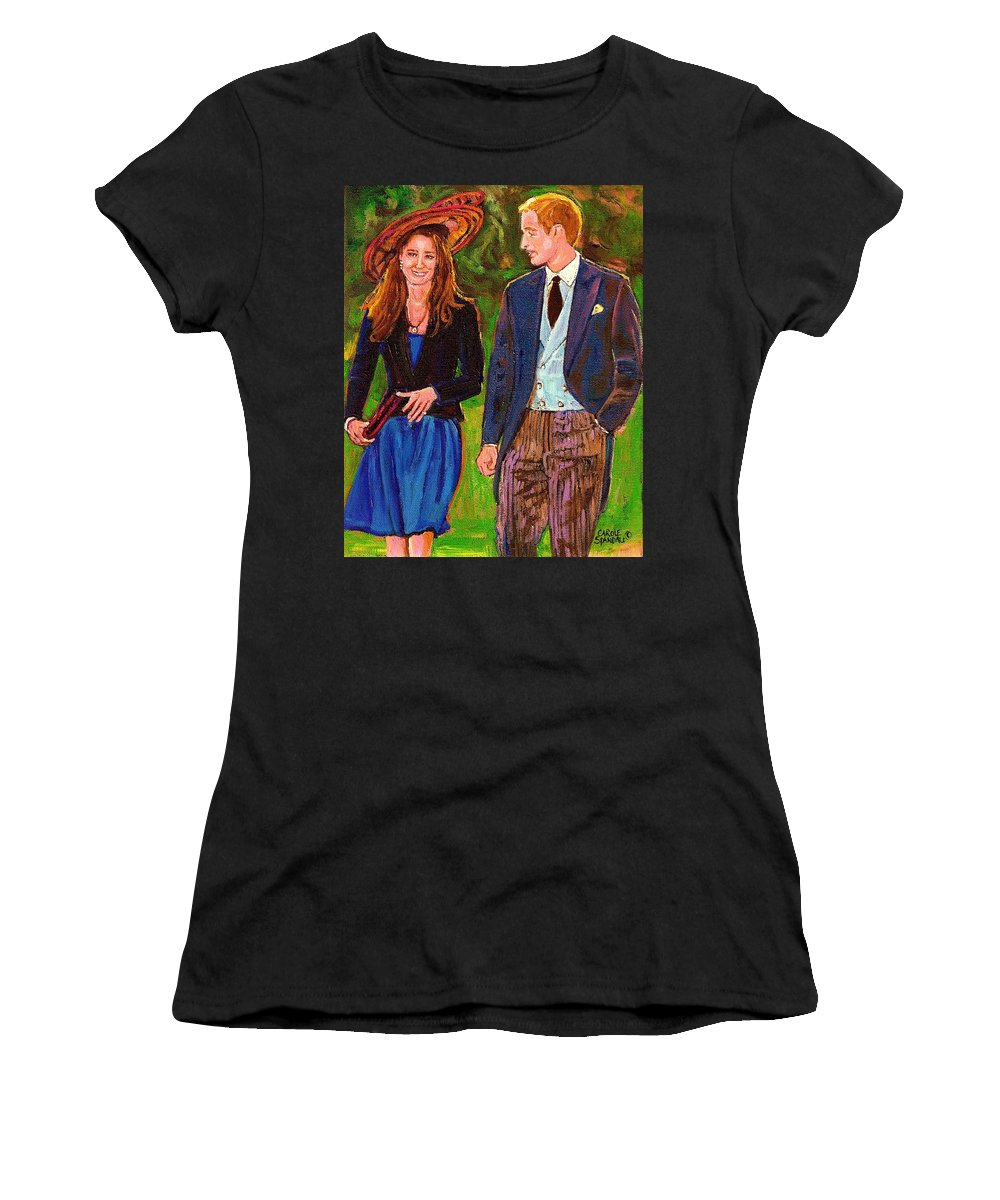 Wills And Kate Women's T-Shirt (Athletic Fit) featuring the painting Prince William And Kate The Young Royals by Carole Spandau