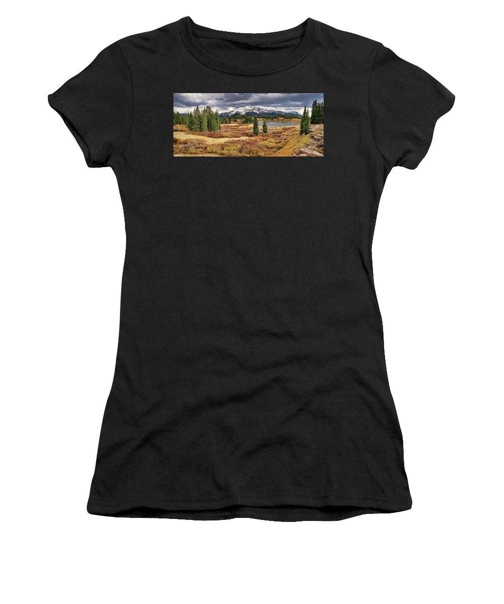 Molas Lake Women's T-Shirt (Athletic Fit) featuring the photograph Pristine Mountain Lake by Leda Robertson