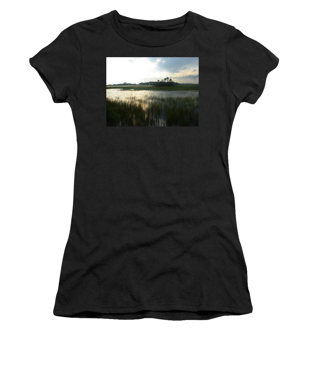 Photography Women's T-Shirt (Athletic Fit) featuring the photograph Private Palm Island by Susanne Van Hulst