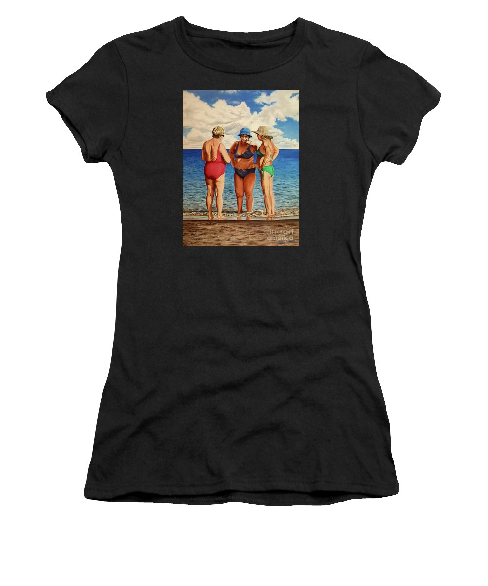 Woman Women's T-Shirt (Athletic Fit) featuring the painting Profound Matters - Asuntos Profundos by Rezzan Erguvan-Onal