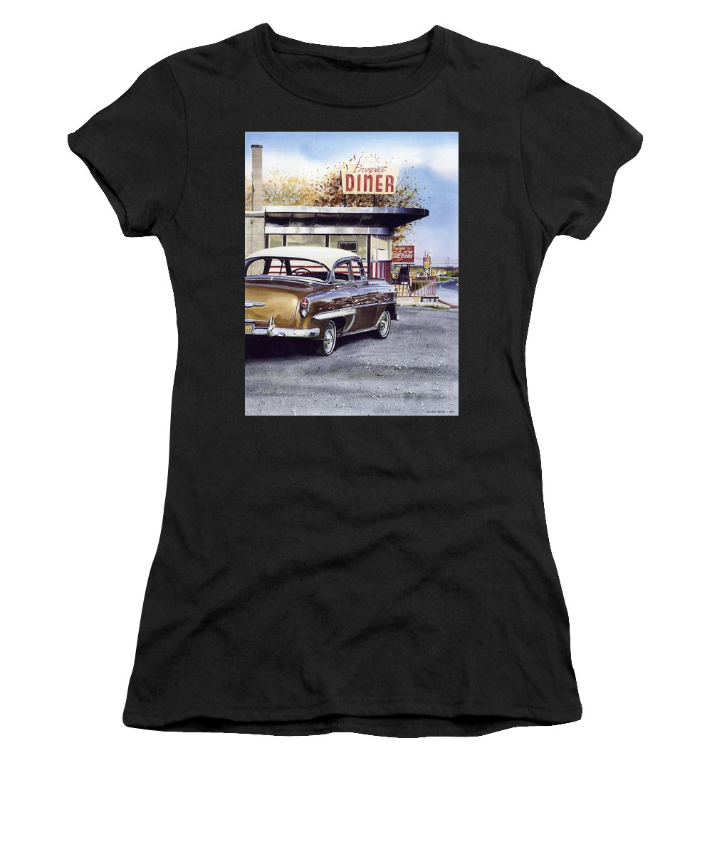 Diner Women's T-Shirt (Athletic Fit) featuring the painting Prospect Diner by Denny Bond