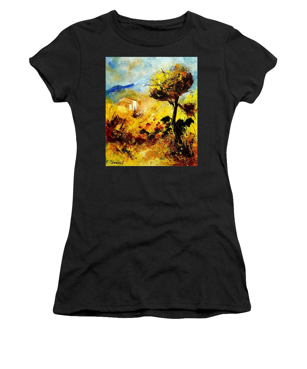 Flowers Women's T-Shirt (Athletic Fit) featuring the painting Provence 56 by Pol Ledent