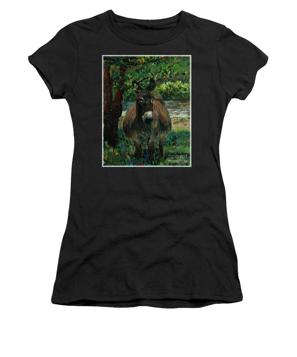 Donkey Women's T-Shirt (Athletic Fit) featuring the painting Provence Donkey by Nadine Rippelmeyer