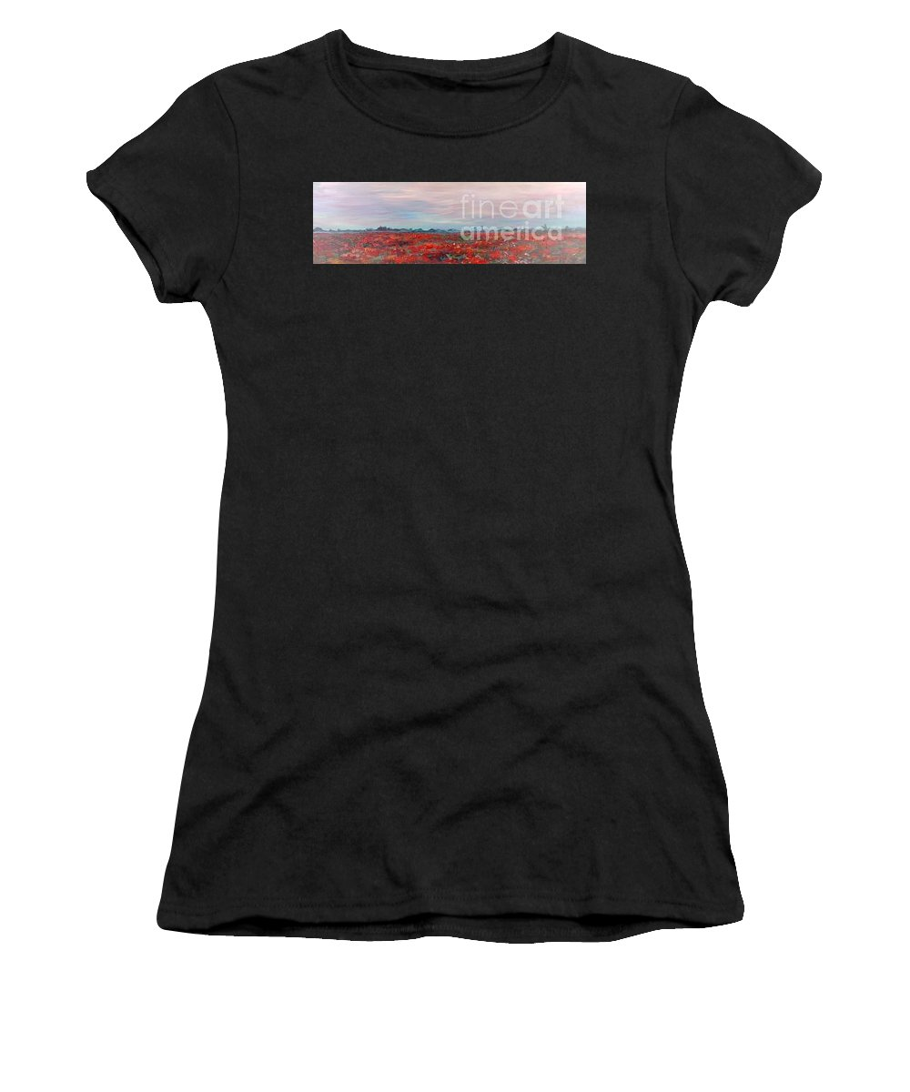 Poppies Women's T-Shirt (Athletic Fit) featuring the painting Provence Poppies by Nadine Rippelmeyer