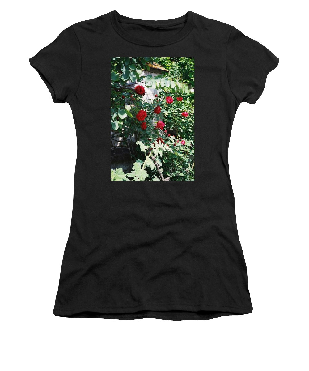 Floral Women's T-Shirt (Athletic Fit) featuring the photograph Provence Red Roses by Nadine Rippelmeyer