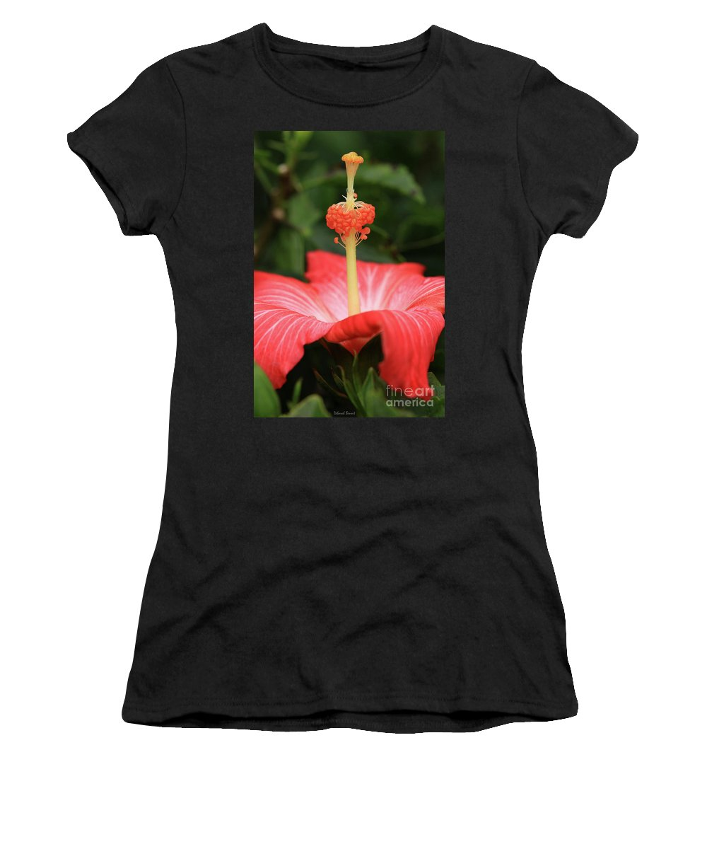 Hibiscus Women's T-Shirt (Athletic Fit) featuring the photograph Provocative Hibiscus by Deborah Benoit