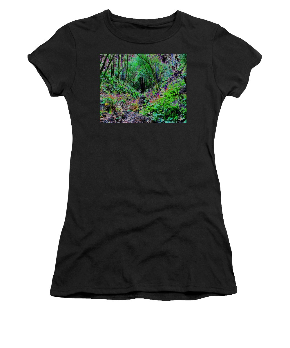 Ferns Women's T-Shirt featuring the photograph Psychedelic Fern Gully On Mt Tamalpais by Ben Upham III