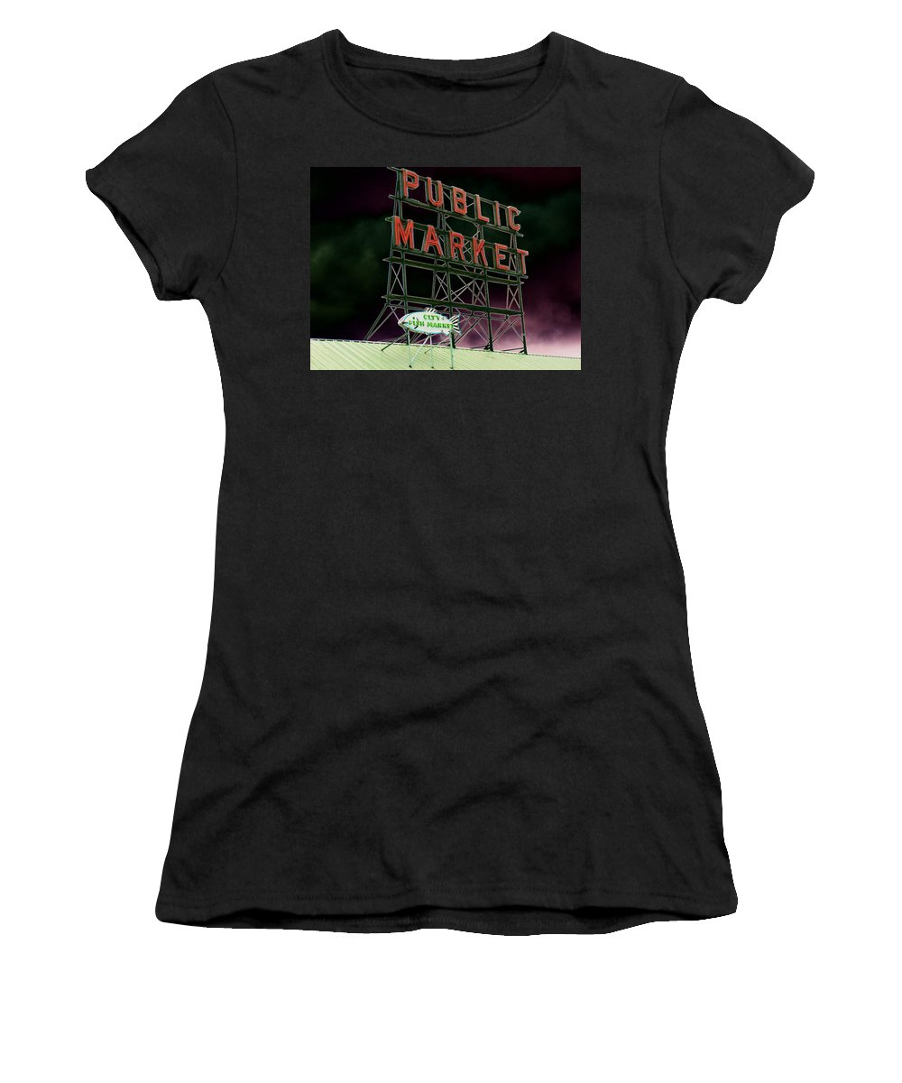 Seattle Women's T-Shirt (Athletic Fit) featuring the photograph Public Market by Tim Allen