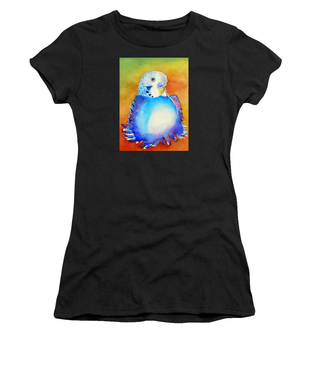 Birds Women's T-Shirt (Athletic Fit) featuring the painting Pudgy Budgie by Patricia Piffath