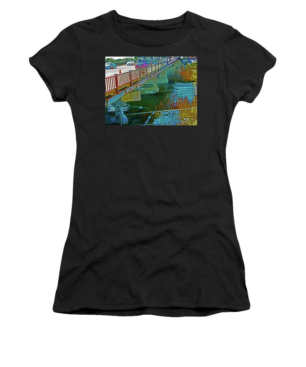 Abstract Women's T-Shirt (Athletic Fit) featuring the digital art Pueblo Downtown--4th Street Bridge by Lenore Senior