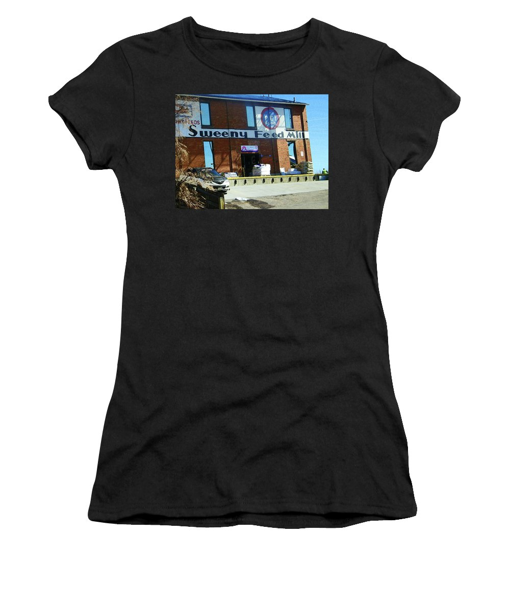 Abstract Women's T-Shirt (Athletic Fit) featuring the photograph Pueblo Downtown--sweeny Feed Mill by Lenore Senior