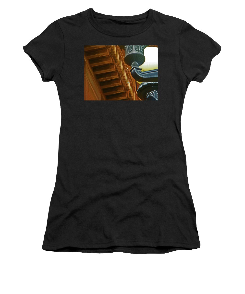 Abstract Women's T-Shirt (Athletic Fit) featuring the photograph Pueblo Downtown Thatcher Building With Lamps by Lenore Senior