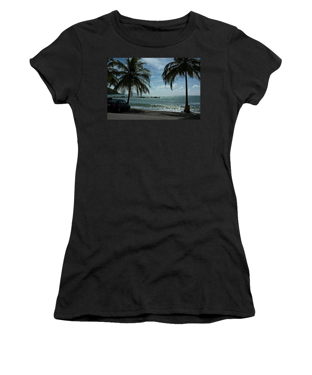 Landscape Women's T-Shirt (Athletic Fit) featuring the photograph Puerto Rican Beach by Tito Santiago