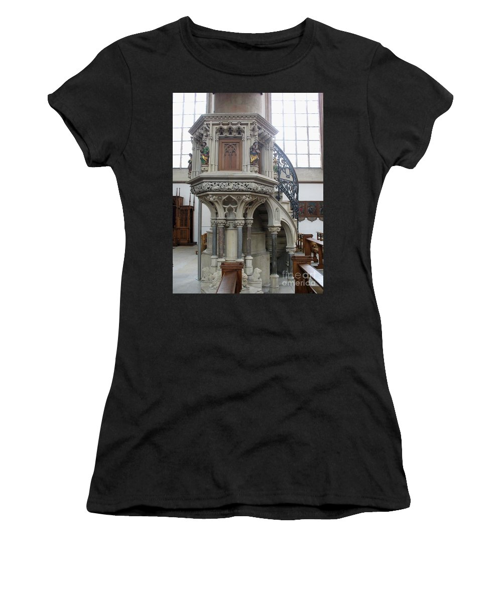 Pulpit Women's T-Shirt (Athletic Fit) featuring the photograph Pulpit - St Lambertus - Germany by Christiane Schulze Art And Photography