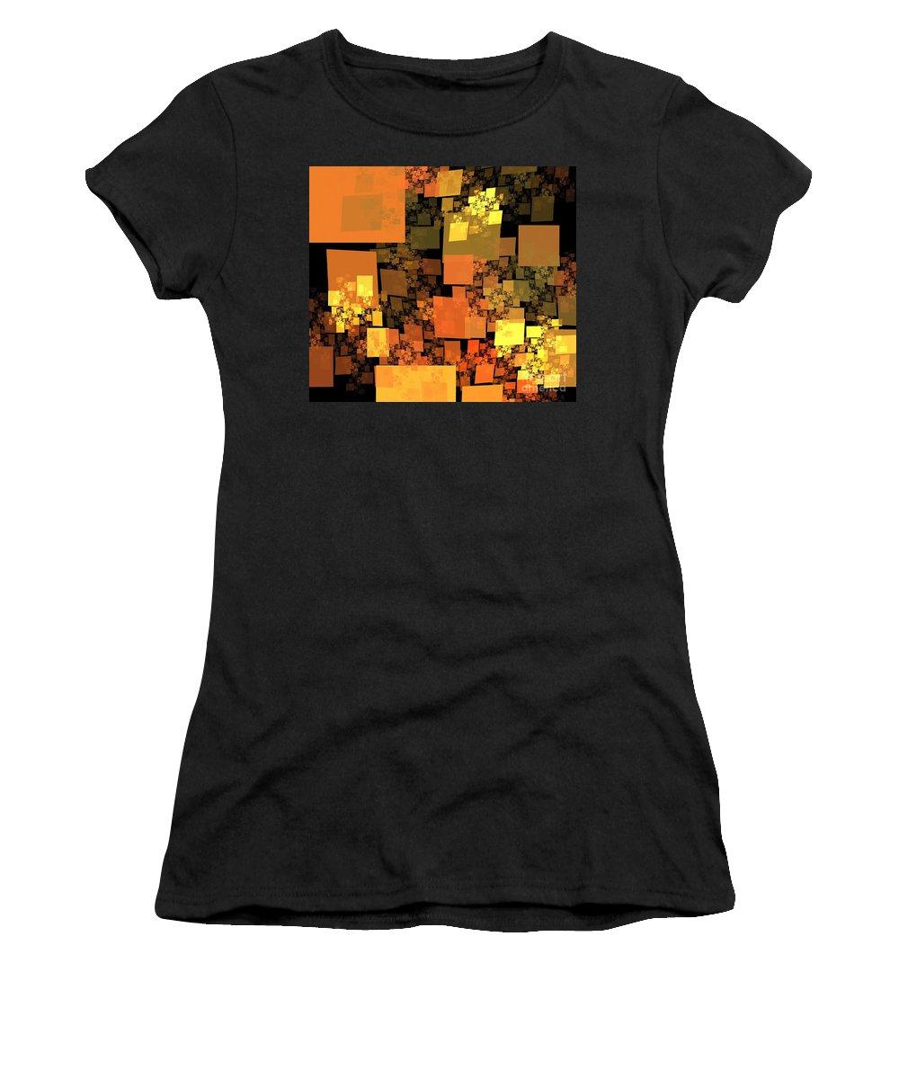 Apophysis Women's T-Shirt (Athletic Fit) featuring the digital art Pumpkin Autumn Cubes by Kim Sy Ok