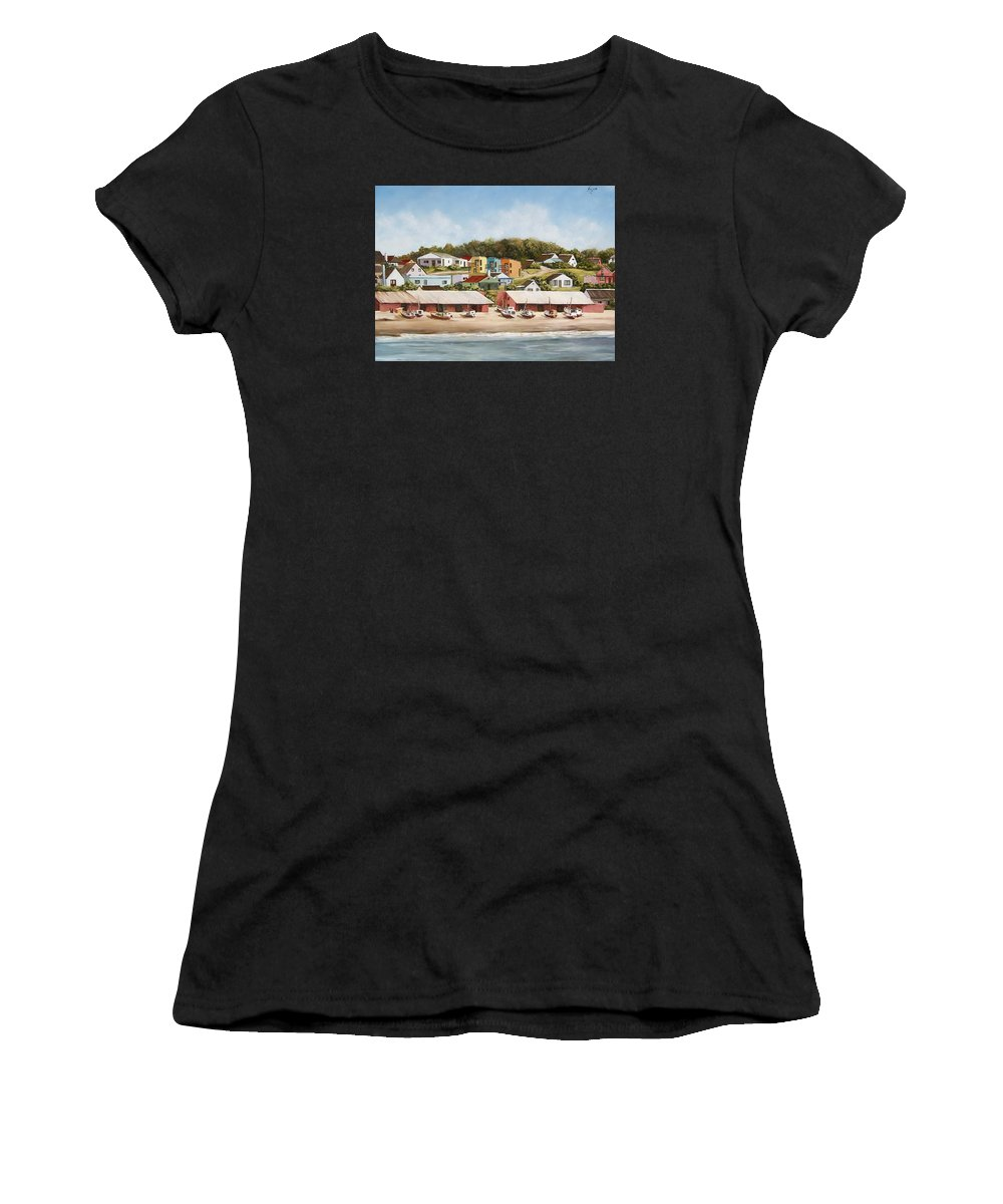 Landscape Seascape Uruguay Sea Seaside Boats Women's T-Shirt (Athletic Fit) featuring the painting Punta Del Diablo 2 by Natalia Tejera