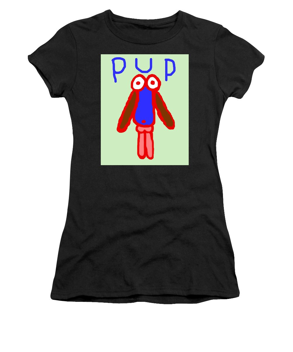 Puppy Women's T-Shirt (Athletic Fit) featuring the painting Pup by Pharris Art