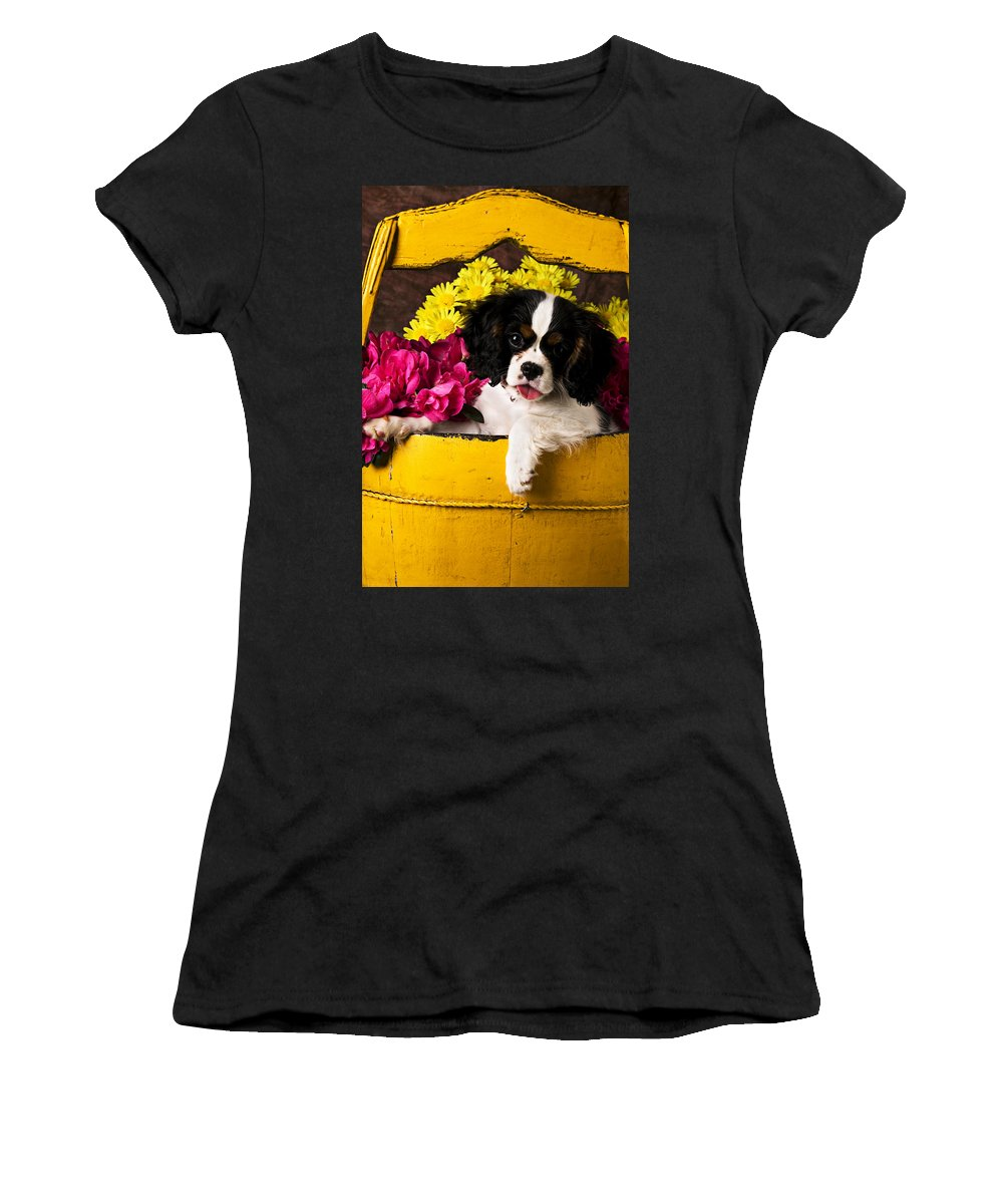 Puppy Dog Cute Doggy Domestic Pup Pet Pedigree Canine Creature Soccer Ball Women's T-Shirt (Athletic Fit) featuring the photograph Puppy In Yellow Bucket by Garry Gay