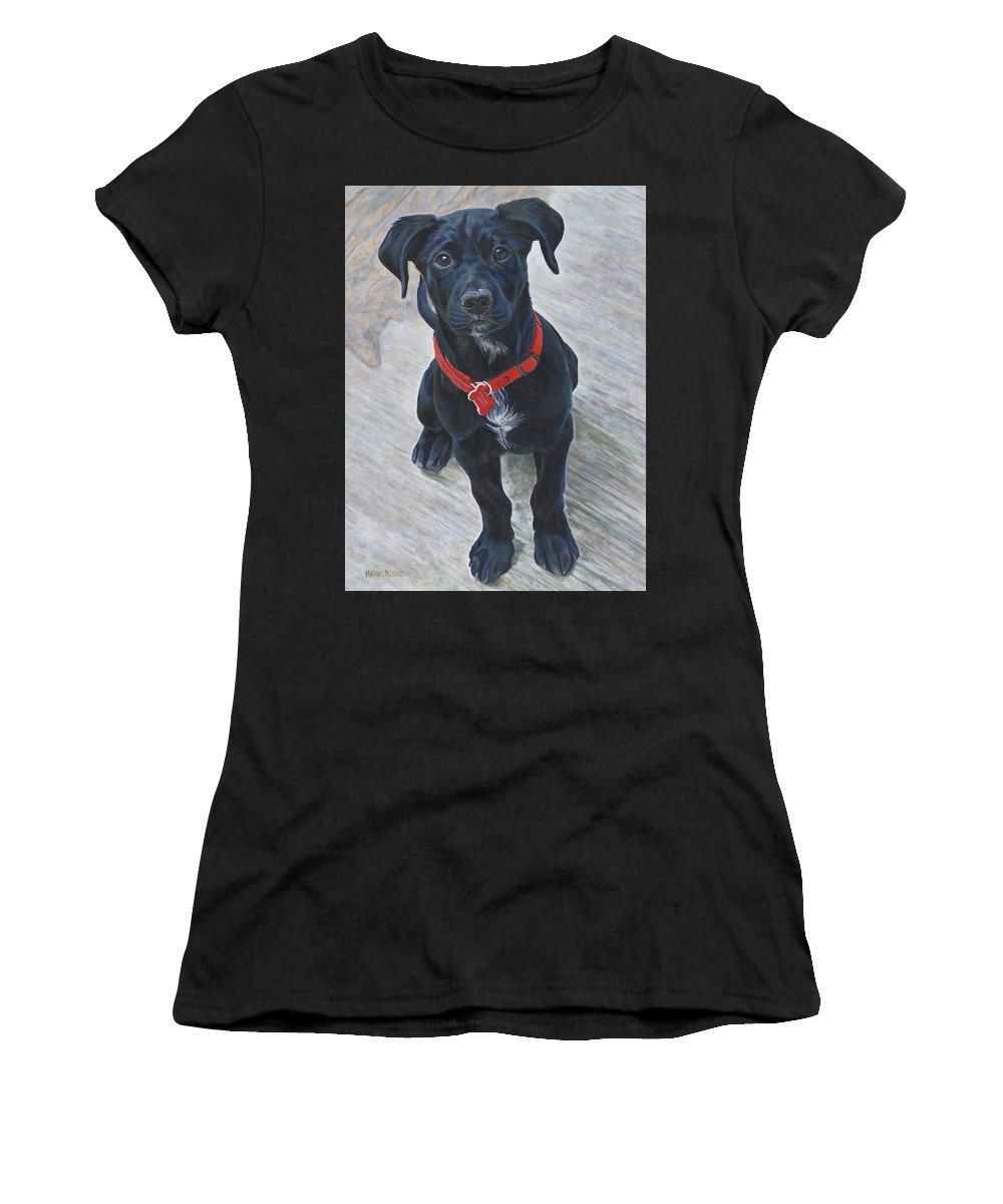 Puppy Women's T-Shirt (Athletic Fit) featuring the painting Cruiser by Marlyn Munter