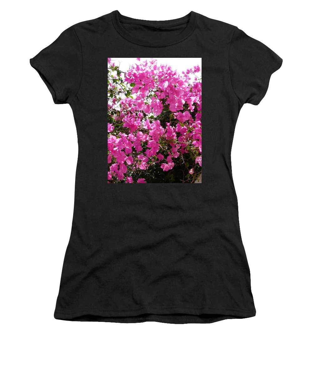 Bougainvillea Women's T-Shirt (Athletic Fit) featuring the photograph Purple Abundance by Valerie Ornstein