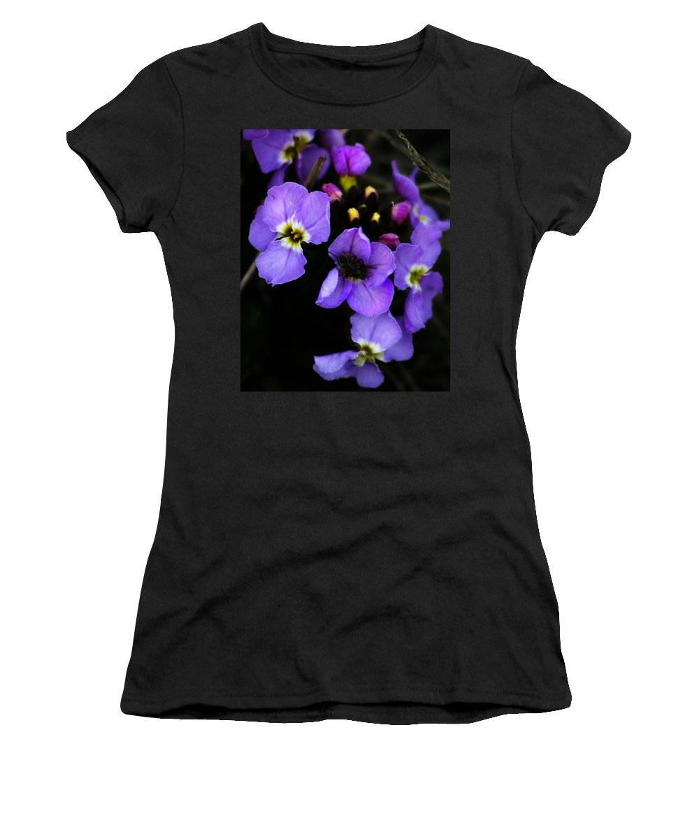 Flowers Women's T-Shirt (Athletic Fit) featuring the photograph Purple Arctic Wild Flowers by Anthony Jones