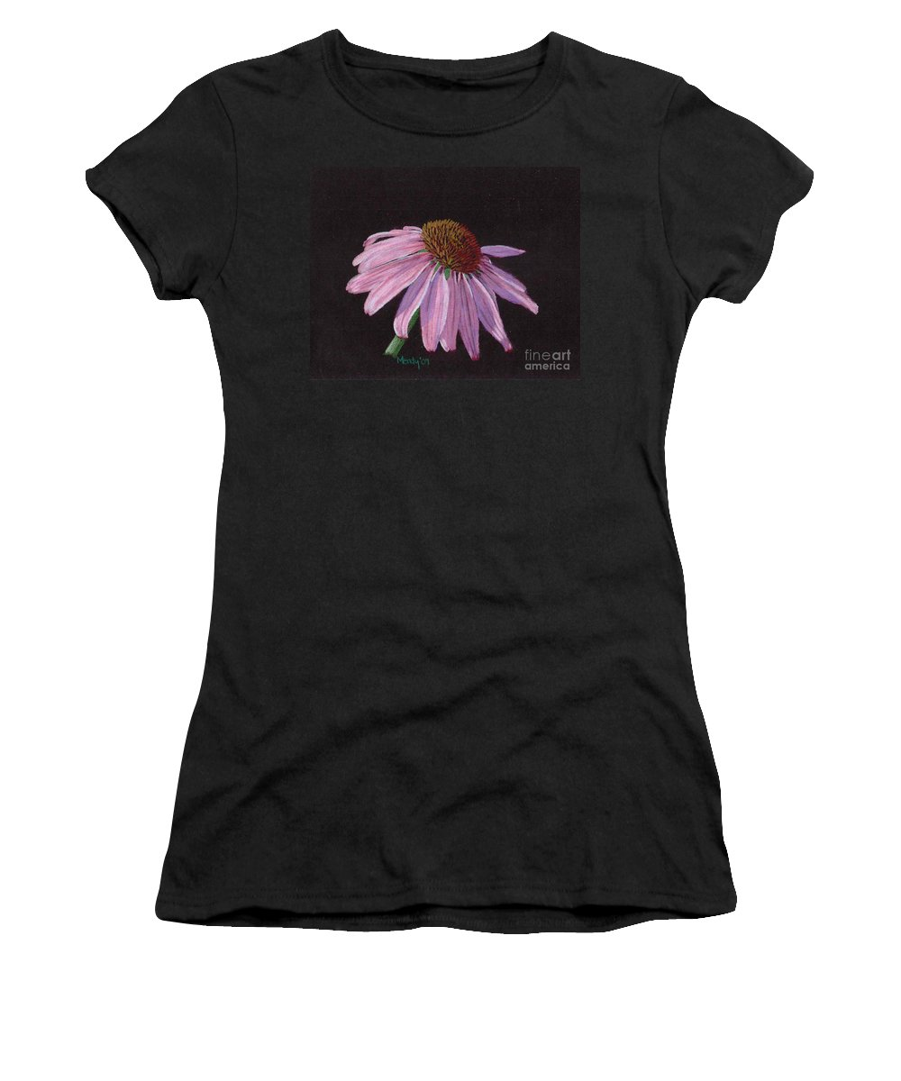 Flower Women's T-Shirt (Athletic Fit) featuring the pastel Purple Coneflower by Mendy Pedersen