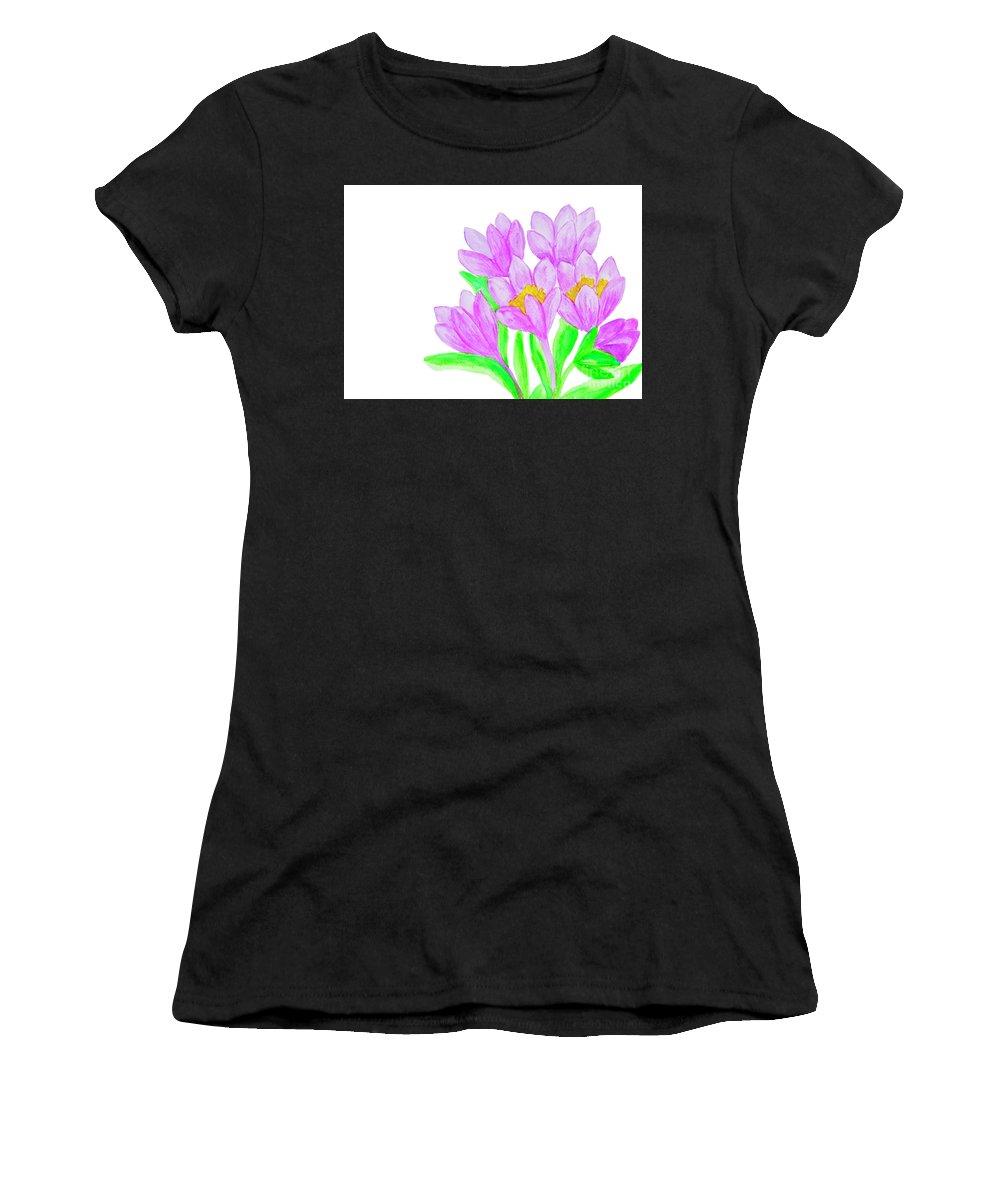 Crocus Women's T-Shirt (Athletic Fit) featuring the painting Purple Crocuses, Painting by Irina Afonskaya