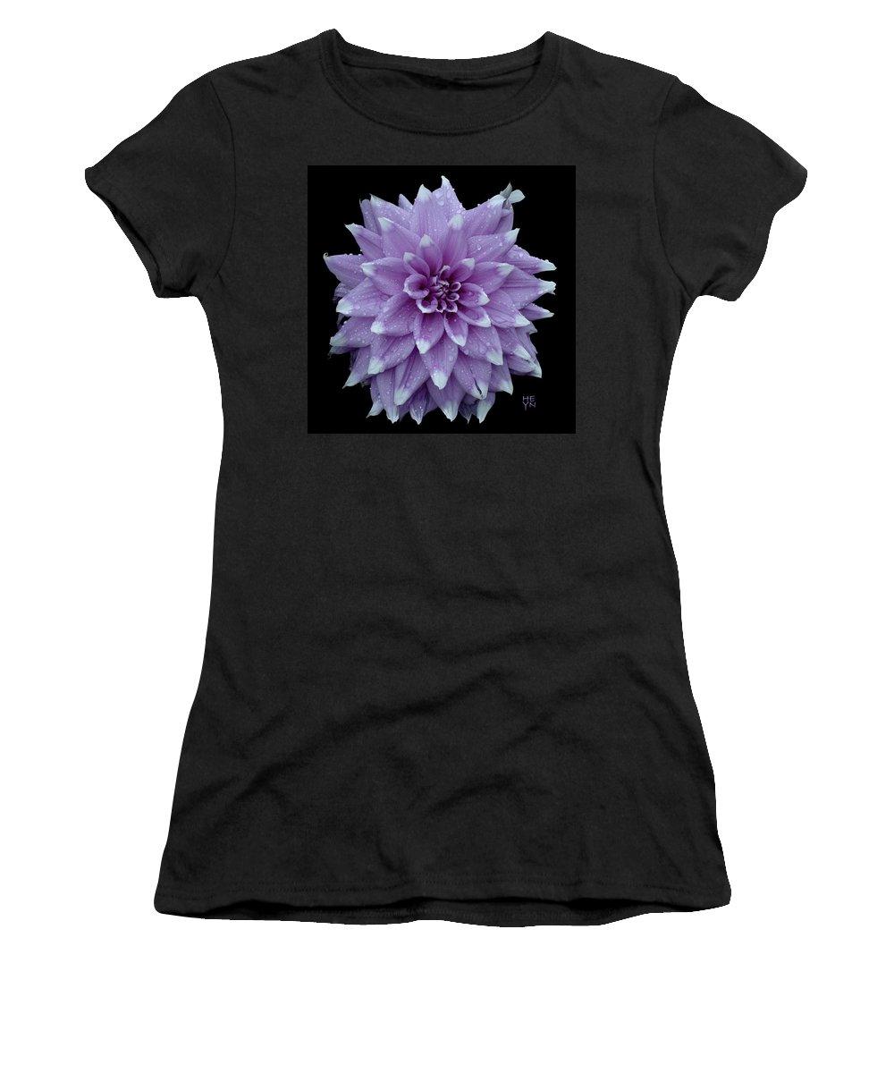 Cutout Women's T-Shirt featuring the photograph Purple Dahlia Cutout by Shirley Heyn